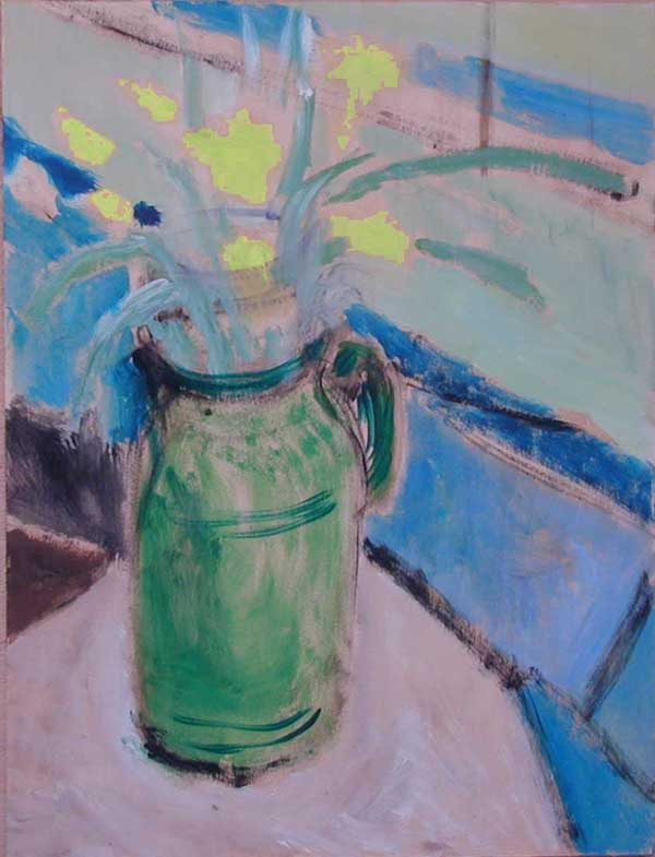painting of daffodils in green vase