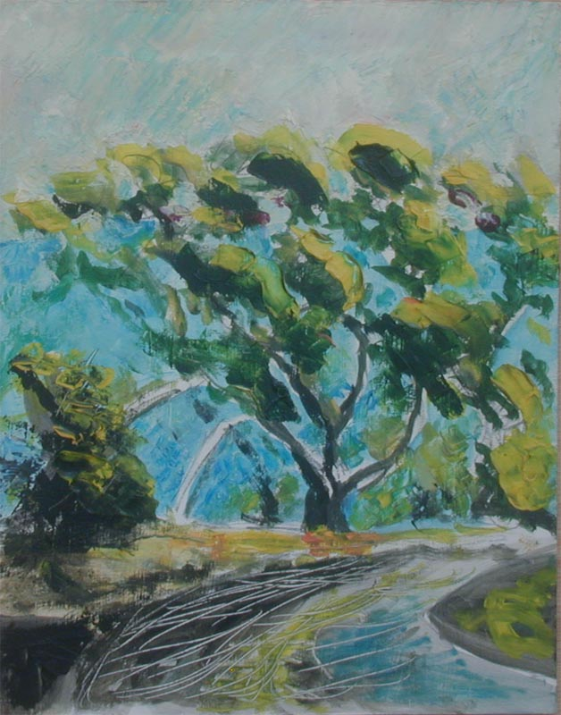 painting of lone tree
