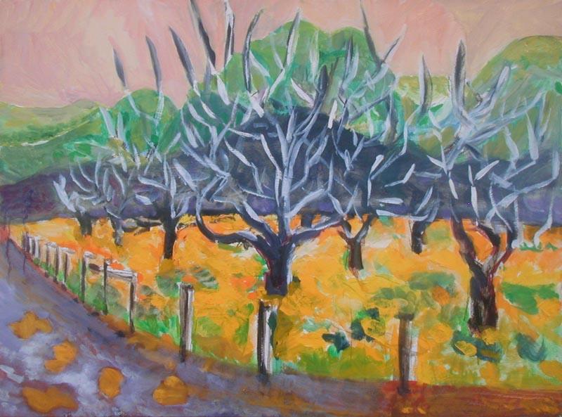 painting of an orchard
