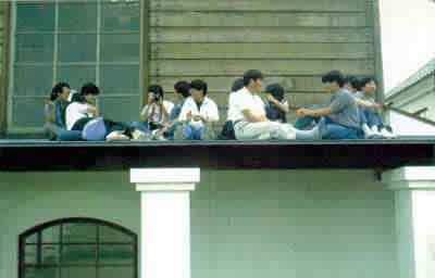 students on the roof