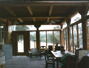 A finished heavy timber porch