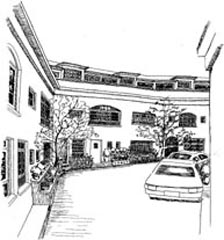 Drawing of a narrow lane between houses